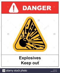 symbol of the explosion in the yellow triangle danger stock vector symbol of the explosion in the yellow triangle danger informational banner text explosives keep out