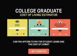 college expense calculator on behance field of study and desired city of residence the tool is able to estimate monthly expenses student loan debt average salary and taxes