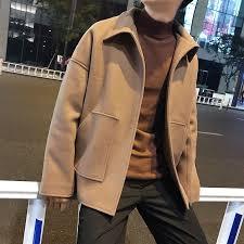 autumn winter Brand <b>Jacket</b> men <b>Restore</b> Lapel Collar Short Woolen ...
