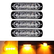 Ricoy <b>6 LED</b> 18W Amber Ultra Slim Underbody Emergency Hazard ...