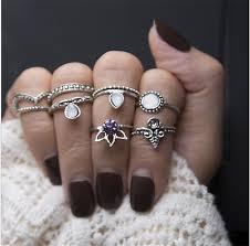 Vintage Jewelry Gift <b>Women Gold</b> Silver Boho Midi Finger Knuckle ...