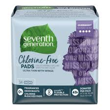 Seventh Generation - <b>Chlorine Free Maxi</b> Pads with wings - Overnight