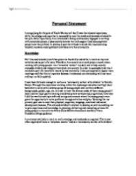 the individuals personality and perception impacts on motivation  personal statement