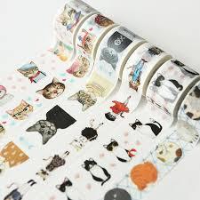 <b>1PCS</b> Cute Cat <b>Style Fashion</b> Time Washi <b>Tape Adhesive Tape</b> DIY ...