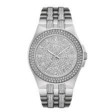 men s bulova crystal accent watch silver tone dial model mouse over image to zoom view larger image men s bulova crystal accent watch