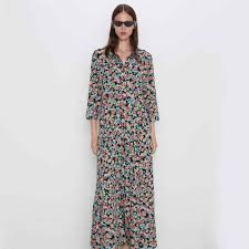 <b>2019</b> ZA Boho Vintage Printing Green Maxi <b>Women</b> Dress <b>Newly</b> ...