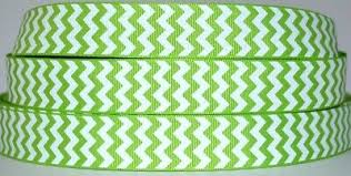 "7/8"" <b>Grosgrain Ribbon</b> CHEVRON WHITE & <b>APPLE GREEN Printed</b> ..."
