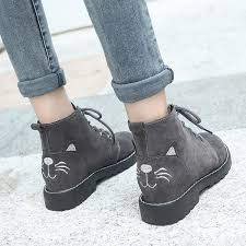 <b>Sweet Cartoon Cat</b> Girls Ankle Boots Shoes Lace Up Chunky Med ...