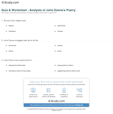 quiz worksheet analysis of john donne s poetry com print john donne poetry analysis overview worksheet