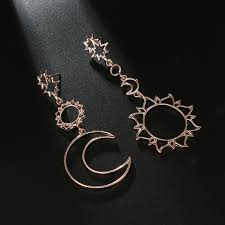 <b>Bohemia</b> Rose Gold Geometry Earrings Women <b>Sun Moon</b> ...