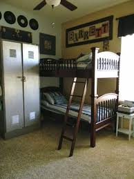 excellent 10 year old boy bedroom ideas using dark brown bunk beds and gray closet combined with striped bed sheet and cream wall astonishing boys bedroom ideas