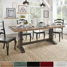 7ft dining table: eleanor two tone rectangular solid wood top dining table by tribecca home