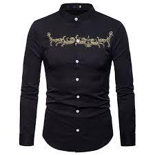 <b>Stand Collar Embroidery</b> Shirt Men 2018 <b>Autumn</b> New Casual ...