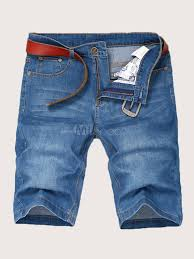Мужские короткие джинсы Blue Wash <b>Distressed</b> Straight Denim ...