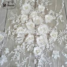 Ivory White Wedding Dress Lace Fabric, 3D <b>Chiffon</b> Flowers Nail ...