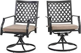 PHI VILLA Outdoor Metal <b>Swivel Chairs</b> Set of <b>2</b> Patio <b>Dining</b> Rocker