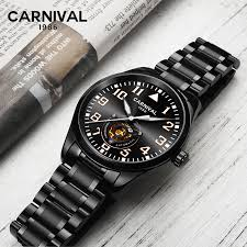 <b>CARNIVAL Men's Self Wind Tourbillon</b> Mechanical Watches Luxury ...