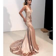 <b>Sexy</b> Mermaid Applique <b>V</b>-<b>Neck Prom Dress</b>, Spaghetti Straps Satin ...