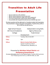 transition to adult life north warren regional school district