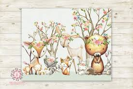 Woodland Animals Wall Art Print Boho Deer Bunny <b>Fox Bear</b> ...