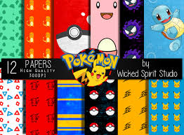 pokemon invitation instant pokemon inspired scrapbook paper set instant printable diy scrapbooking paper digital paper textures crafts anime