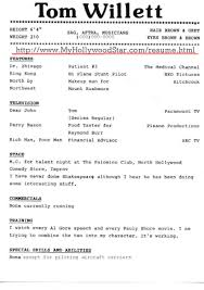 my hollywood star acting resume page  comical resume