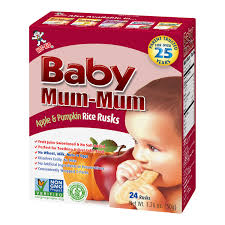 Hot Kid <b>Baby Mum</b>-<b>Mum Apple</b> & Pumpkin Rice Rusks, 1.76 oz, 24 ct