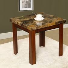 marble dining table adecc: adeco wood faux marble finish rectangular side end table