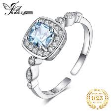 2019 <b>JewelryPalace 1ct Genuine Blue</b> Topaz Ring 925 Sterling ...