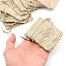 <b>10pcs Small</b> Burlap Jute Sack Linen Pouch Bag Drawstring ...