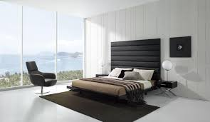 black white minimalist bedroom interior design looks bright with glass wall black white bedroom interior
