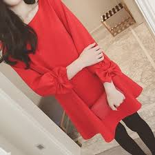 Korean Midi Dress <b>Women</b> Sweet <b>Plain</b> Dresses <b>Long</b> Sleeve Hem ...