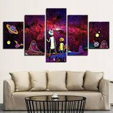 <b>5 Pieces HD Print</b> Painting Sun Outer Space Earth World Map   5 ...