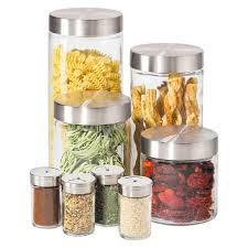 Oggi 8 Piece Round <b>Airtight Glass Canister</b> And <b>Spice Jar</b> Set With ...