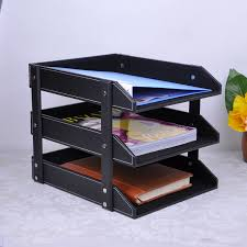 leather office desktop storage box 4 shelf shelving multilayer folders to organize your boxes storage products cheap office shelving