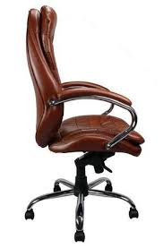 professional high back leather faced chair side view brown leather office chair