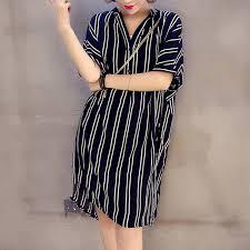 Royal  Plus Size Loose <b>5XL</b> Striped Dress Women V Neck Short ...