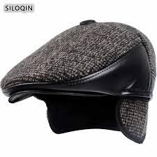 <b>SILOQIN Genuine</b> Leather Hat High Quality Sheepskin Military Hats ...