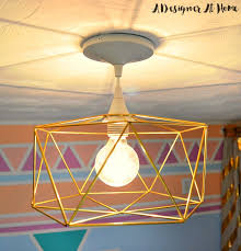 himmeli inspired geometric brass light fixture tutorial ceiling lighting fixtures home office