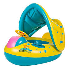 TOAOB <b>Baby Swimming Pool</b> Floats <b>Boat</b> with <b>Inflatable</b> Sunshade ...