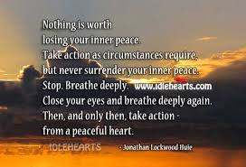 Amazing ten lovable quotes about inner peace pic English ... via Relatably.com