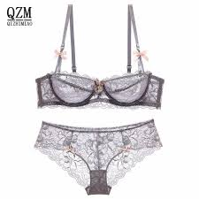 QIZHIMIAO New Design <b>Sexy</b> lace Comfortable <b>bra</b> half a cup thin ...