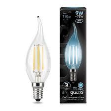 <b>Лампа Gauss</b> LED <b>Filament Свеча</b> на ветру E14 9W 710lm 4100K ...