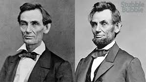 Image result for abraham lincoln, with and without a beard