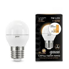 Lampe led <b>Gauss led globe E27</b> 7W 2700K étape réglable 1/10/100 ...