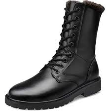 QIKAI Military Boots for <b>Men Large Size Men's</b> Boots Leather High ...
