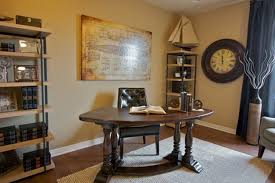 f fascinating home office design ideas featuring classic high gloss brown finish curved teak wood table and turned legs combined elegant black leather brown finish home office