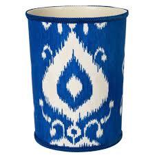 covered trash cans bathroom  bathroom trash cans blue ikat
