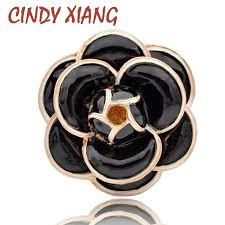 <b>CINDY XIANG</b> Enamel Saturna Camellia Flower Brooches for ...