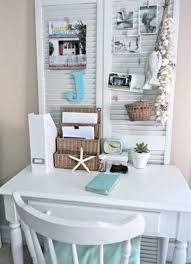 this room office looks more clean bright and charm better than another design because this home office design use color combination of blue white also brown charming office plants